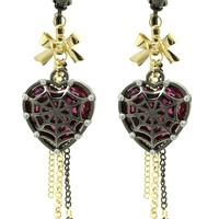 Purple Spider Web Covered Heart Halloween Earring