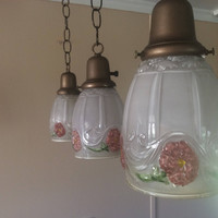 Set of 3 Vintage Victorian Reverse Paint Pendant Lights 1920s Original Fixtures Bathroom Kitchen Counter