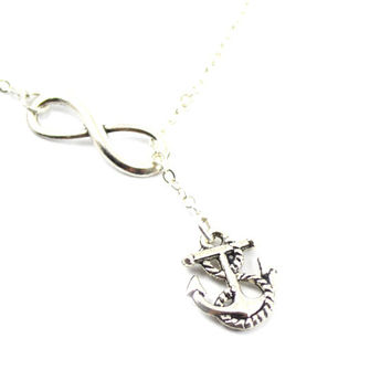 Infinity lariat anchor necklace