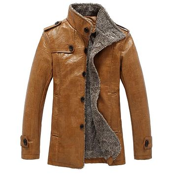 Leather Jacket Men Coats PU Outerwear Men Slim Fit Winter Faux Fur Male