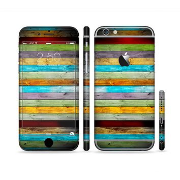 The Vintage Colored Wooden Planks Sectioned Skin Series for the Apple iPhone 6 Plus