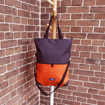 SAMPLE SALE Large fold over canvas tote bag shopping bag casual fold over tote vegan school bag two tone and orange book bag for women