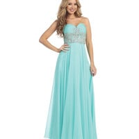 Mint Strapless Beaded Empire Waist Chiffon Dress 2015 Prom Dresses