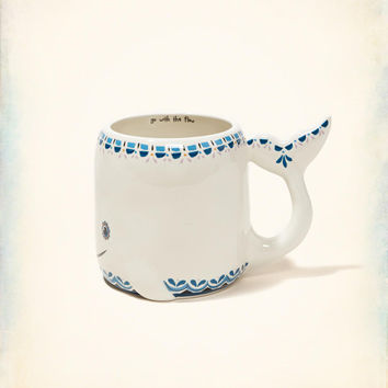 Natural Life Folk Art Ceramic Whale Mug