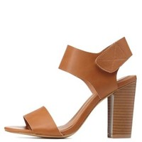 Cognac Single Strap Chunky Heels by Charlotte Russe