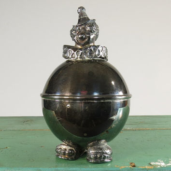 Clown Piggy Bank Lunt Silver Plated Old Fashioned Baby's Room