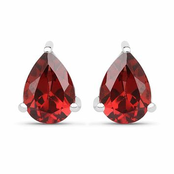 Natural 1.68TCW Pear Cut Red Garnet Stud Earrings