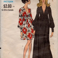 Vogue 70s Sewing Pattern Disco Era Evening Gown Cocktail Dress Deep V Neckline Loose Fit Long Blouson Sleeves Uncut FF Bust 38