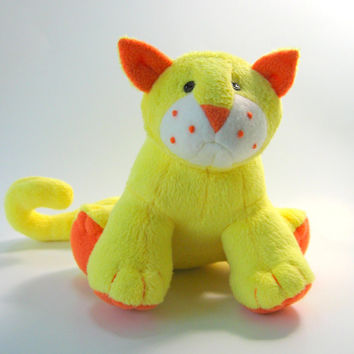 Duckie the Minkee Cat, plush, small stuffed animal, soft, yellow, orange