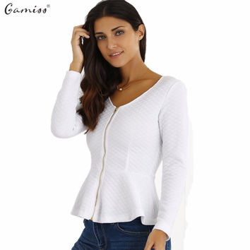 Gamiss  Spring Blazer White  Casual Jacket Long Sleeves Gold Zipper Ruffled Peplum Cut Stretchy Cotton Feminino Coats