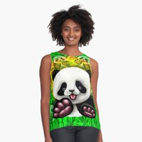 """Panda Baby Bear Cute and Happy"" Contrast Tank by BluedarkArt 