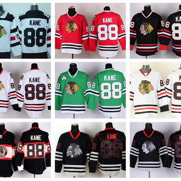 Chicago Blackhawks 88 Patrick Kane Jersey Sport Ice Hockey Throwback Winter Classic Home Red Alternate White Green Black Ice Skull