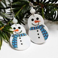 Snowman shape Earrings FREE Shipping White and blue Dangle Jewelry 2-sided , gift for her under 20