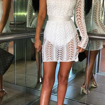 Bad Ideas White Sheer Lace One Shoulder Long Sleeve Zig Zag Pattern Bodycon Mini Dress