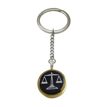 Golden Scale of Justice Law Pendant Keychain