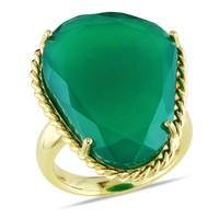 18 3/4 Carat Green Onyx Fashion Ring in Sterling Silver