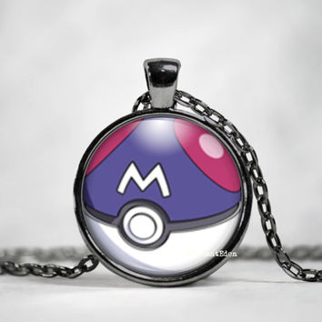 Master Ball Pokeball Pendant, pokemon go, pokemon jewelry, pokemon necklace, japanese anime, fan art,pokeball necklace