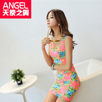 Summer Spring brand new designer sexy  Sleeveless O-neck Floral Above-knee Length Short Bodycon Womens Print Tank Dress