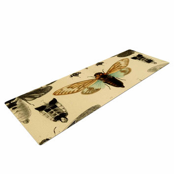 "Suzanne Carter ""Vintage Cicada"" Bugs Pattern Yoga Mat"