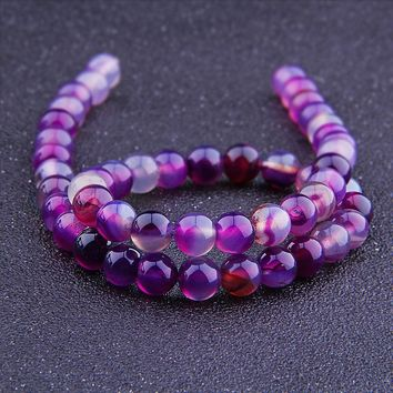 Fashion Smooth Light Purple Agate Stone Gemstone Bead Accessories for DIY Charm Bracelet Pendant Necklace Jewelry Making