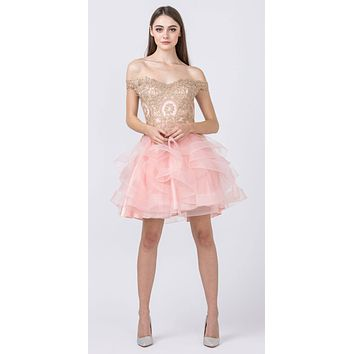 Off-Shoulder Homecoming Tiered Short Dress Blush/Gold