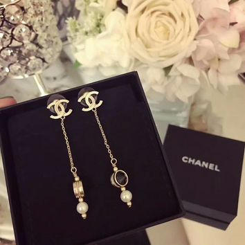 Chanel Stylish Ladies Logo and Black Pearl fringe Earrings dangling earrings for ear