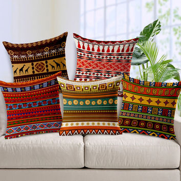 African Print Throw Linen Pillow Covers