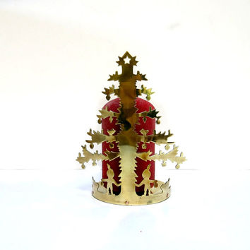 Vintage Christmas Tree Brass Candle Holder 1970s 2 Size Candles