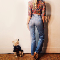 Vintage 1970's high waisted denim bell bottoms . || Size 25 x 32