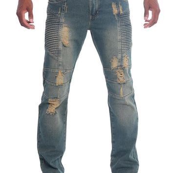 Destroyed Slim Fit Moto Style Jeans DL198 - FF9D