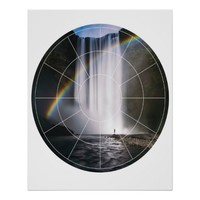 Modern Waterfall Rainbow Altered Photograph Poster