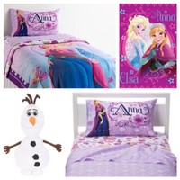 Disney Frozen Celebrate Love Complete 6 Piece Twin Bed in a Bag - Reversible Comforter, 3 Piece Sheet Set, Plush Throw & Olaf Cuddle Pillow