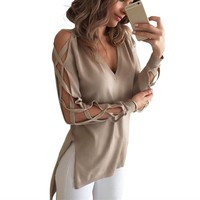 Sexy Women Hollow Out T-shirt Spring Autumn Fashion V-neck Long Sleeve High Low Split Club Tops Shirts Blusas