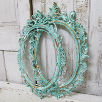 Distressed aqua frame grouping shabby chic ornate vintage cottage style wall decor Anita Spero
