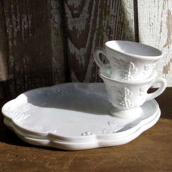 Vintage Milk Glass Snack Set, White Milkglass Tea Cup and Serving Tray, Pair of Two, Teacup, Platter, Grapes, Retro Dishes, Farmhouse Decor