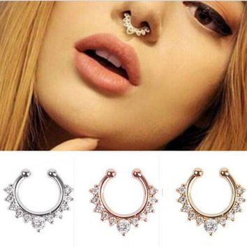 ac ICIKO2Q EK165 New Crystal Clicker Fake Septum For Women Clip Hoop Nose Ring Faux Piercing Gold Silver Plated Men Girl Gift Body Jewelry