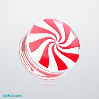 Peppermint Candy Swirl Clear UV Double Flared Ear Gauge Plug