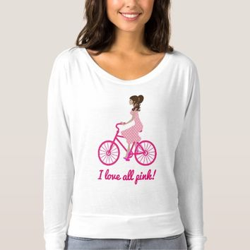 I love pink bicycle Flowy Off Shoulder T-Shirt