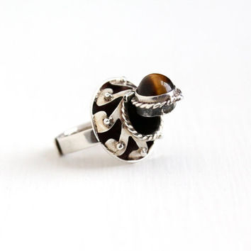 Vintage Taxco Mexican Sterling Silver Tiger's Eye Poison Ring - Retro Adjustable Statement Brown Gem Cabochon Locket Hallmarked Jewelry
