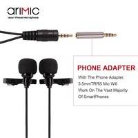 Original Ulanzi Dual-Head Lavalier Lapel Microphone Set 1.5m/6m cable length for Youtube Lecture Interview Meeting for iPhone 7