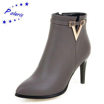 Polaris 2016 Women Ankle Boots Plus Size 34-43 PU Zip High Thin Heel Pointed Toe Autumn Woman Fashion Shoes Black Gray Red