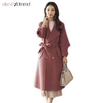 AKSLXDMMD Wool Coat Female 2017 New Fashion Double-breasted Women Cashmere Mid-long Jackets and Coats Casacos LH1293