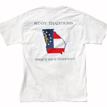 GA Traditional T-Shirt in White by State Traditions