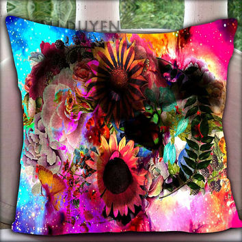 Floral Skull Nebula - Pillow Cover Pillow Case and Decorated Pillow.