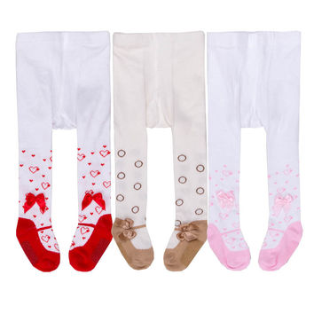 2016 Baby Girls Polka Dots Pink Cotton Tights Infant Girl Pantyhose Lovely Bowknot Cotton Leg Warmers Anti-skid Meia Calca Bebe