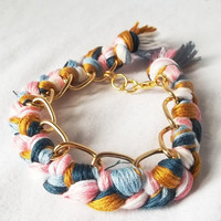 Gold Bracelet  Pink Blue Camel White braided chain by ACAmour