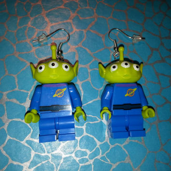 Hand Made Novelty Toy Story ALIEN Dangle EARRINGS ~ Made using Lego(r) Compatible Pieces ~ Ideal Gift ~ Same Day Dispatch