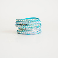 Genuine Leather Bracelet Blue Turquoise Bracelet Wrap Bracelet Layer Bracelet Swarovski Bracelet Beaded Bracelet Friendship Bracelet Fashion