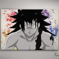 Fairy Tail Gajeel Watercolor illustrations Print Wall Art Poster Giclee Wall Anime Art Home Decor Wall Hanging Modern Geek Multi Size n675
