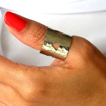 Silver thumb ring, adjustable no tarnish ring with cut outs, gift under 40
